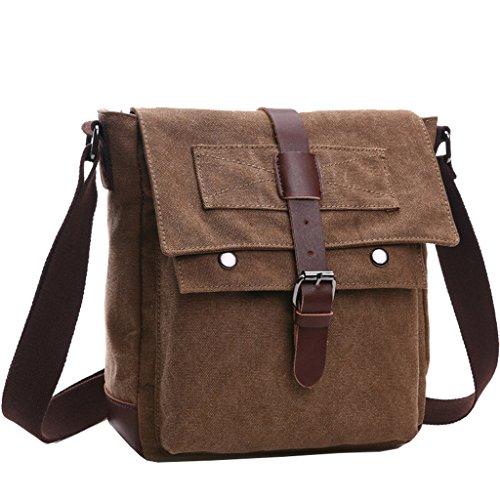 Super moderno Vintage Borsa a tracolla borsa di tela militare tempo libero viaggio borsa crossbody borsa a tracolla Coffee