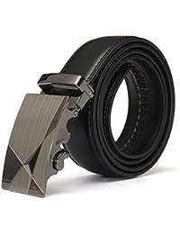 Men Belt - SODIAL(R) Luxury Black Leather Automatic Mens Casual Waistband Waist Strap Belt Belts