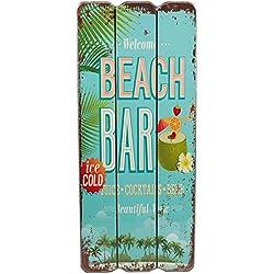 Cartel de madera, diseño con texto Beach Bar, Welcome, Coctails, Tropical Bar, Cartel para pared, MDF 34 x15 cm