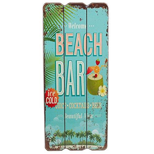 Holzschild BEACH BAR Tropical Bar Wandschild MDF Wanddeko Schild Strand Urlaub Welcome Türschild Coctails Beer Keller Dekoschild 34x15 cm (Beach Bar2)