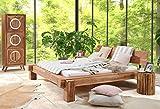 SAM® Massiv-Holzbett 180x200 cm, Yoga Big, Natur, Sheesham-Holz, Balkenbett mit geschlossenem Kopfteil, Unikat
