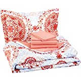 AmazonBasics 5-Piece Bedsheet Set - Twin/Twin Extra Long, Coral Medallion (Includes 1 bedsheet, 1 Comforter, 2 Pillowcases, 1 Fitted Sheet)