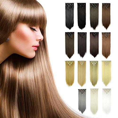 FESHFEN Extensions zum Anklipsen, 61cm, 7 Stück, 16Clips, lang, glattes Synthetik-Haar für Frauen, 130g