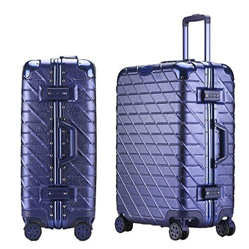 Valigia Rigida,Valigia A 4 Ruote,ABS Trolley Bagaglio A Mano Valigia Rigida Leggera,Blue-20Inch