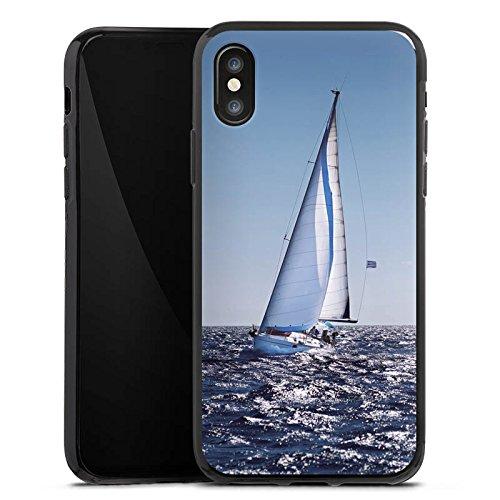 Apple iPhone X Silikon Hülle Case Schutzhülle Segeln Sailing Segelboot Silikon Case schwarz