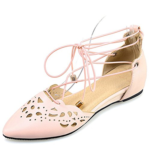TAOFFEN Damen Comfort Pointed Toe Flach Sandalen Gladiator Schn篓鹿rung Schuhe Pink