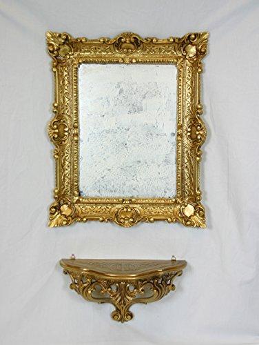 Console-tagre-Miroir-Or-Dor-Meuble-mural-Imitation-Vintage-Style-Louis-XVI-baroque