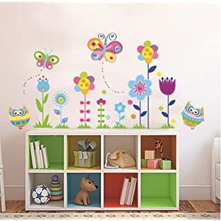 Colourful Flower & Butterfly Owls Floral Art Decal Window Wall Stickers Removable Reusable Wall Stickers, Wall/Window Decorations