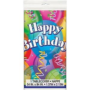 Mantel de Plástico - 2,13 m x 1,37 m - Fiesta de Cumpleaños Brillante
