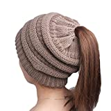 YWLINK Winter Damen Einfarbig Einfach Stricken MüTze Turban Kopf Wickeln Kappe Pfahlkappe Lange Haare Hut(Freie Größe,Khaki)