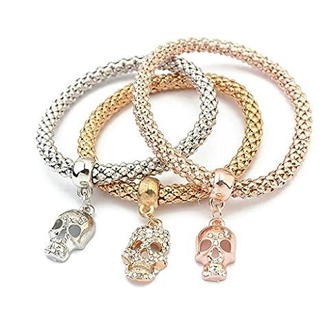 Epinki Edelstahl Damen Armband, Damenarmband Totenkopf Schädel Kristall Dreifarbig Armreifen Elegant Armschmuck Freundschaftsarmbänder 7.3x7.3 CM