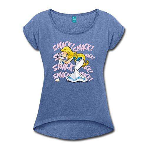 Spreadshirt Asterix & Obelix - Idefix Falbala Frauen T-Shirt mit Gerollten Ärmeln, S, Denim Meliert (Abenteuer-film T-shirts)