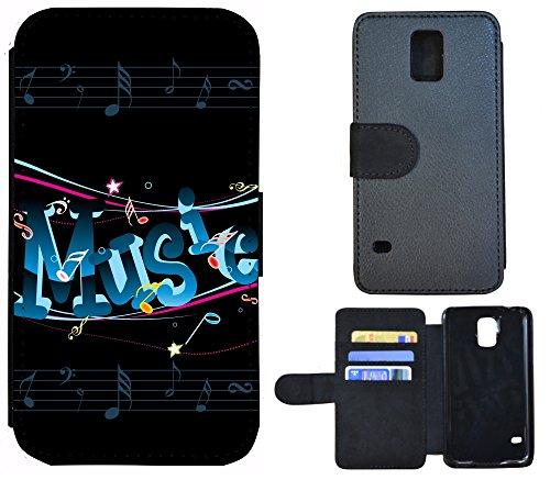 Flip Cover Schutz Hülle Handy Tasche Etui Case für (Apple iPhone 4 / 4s, 1163 Abstract Hell Blau Grau) 1155 Music Noten Schwarz Blau