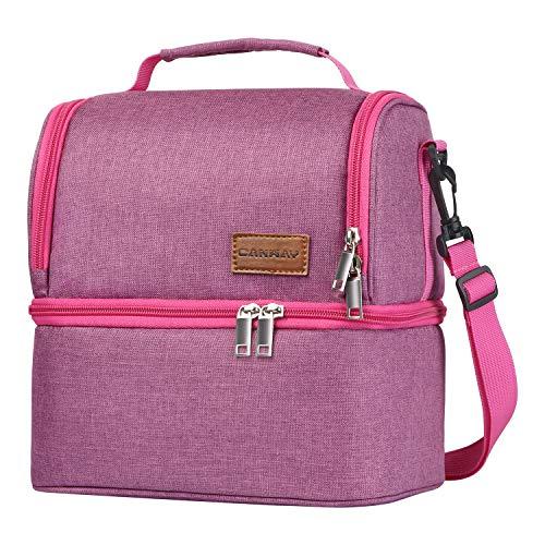 Canway borsa pranzo borsa termica impermeabile 2 scomparti borsa frigo capacità da 8l con tracolla rimovibile lunch bag per ufficio, scuola, campeggio e picnic, rosso