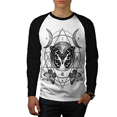 wellcoda Mond Zyklus Schmetterling Männer L Baseball LS T-Shirt