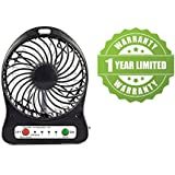 Exosis Portable Rechargeable LED Fan Air Cooler Mini Operated Desk USB 18650 Battery Operated Clip Cooling 3-Mode Fan, Small Personal USB Or Battery Powered Fan, Rechargeable By NetBook, PC, 360 Degree Rotation, Powerful Wind For Baby Stroller, Outdoor Ac