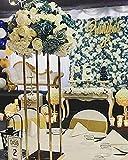 Everbon Set von 10 goldfarbenen Hochzeitsblumenständern 80 cm hoch Kristallblume Kronleuchter Tischdekoration für rustikale Vintage-Hochzeitskopf Tischdekorationen Zeremonie Dekoration Party Empfang Jahrestag