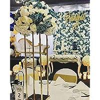 Everbon - Juego de 10 portavelas de boda dorado con forma de flor de cristal de 80 cm de alto para decoración de mesa de boda rústica, vintage, decoración de ceremonia, fiesta, recepción, aniversario, etc.