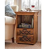 #2: VK Furniture Sheesham Wood Wooden Side End Table with 2 Drawers (Honey Brown Finish)