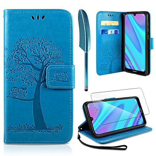 AROYI Huawei Y7 2019 Hülle, Handyhülle Huawei Y7 2019 Case Tasche Leder Flip Eule Baum Wallet Schutzhülle für Huawei Y7 2019 Blau