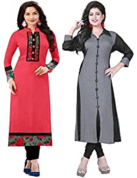 Combo Kurti (Pack Of 2) Cotton Fabric Party Wear Kurtis Combo Pack Of 2 By Royalty