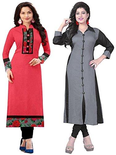 Combo Kurti (Pack Of 2) Cotton Fabric Party wear kurtis combo pack...
