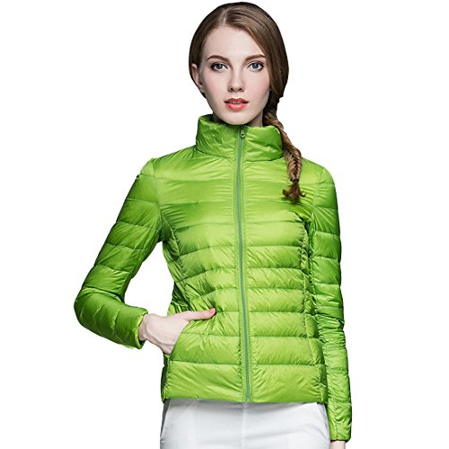 GWELL Damen Ultra Leicht Daunenjacke Winter Mantel Übergangsjacke hell grün M (Mantel Daunenjacke)