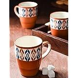 Red Handpainted Coffee Mugs (Set Of 6)