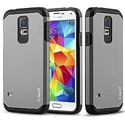 J&D Compatible pour Coque Galaxy S5, [ArmorBox] [Double Couche] Coque de Protection Robuste Antichoc et Hybride pour Samsung Galaxy S5 - Gris