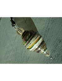 Handmade by Mimi Pinto Paper Bead Surf Style Pendant on waxed cotton cord with clasp