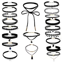 20 PCS Women Choker Necklaces Black Velvet Stretch Tattoo Choker Necklace Set for Girls