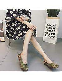 Angrousobiu Limpie la piel expuesta Baotou sandalias de fondo plano inferior suave mano zapatos de mujer Tanto...