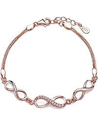 Unendlich U Fashion 3 Unendlichkeit Symbole Damen Charm-Armband 925 Sterling Silber Zirkonia Armkette Verstellbar Armkettchen Strangarmband, Rosegold