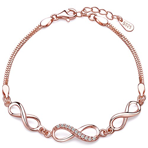 Unendlich U Klassisch Infinity Unendlichkeit Symbol Damen Armband 925 Sterling Silber Zirkonia Armkette Verstellbar Charm Armkettchen, Silber/Rosegold (Rosegold)