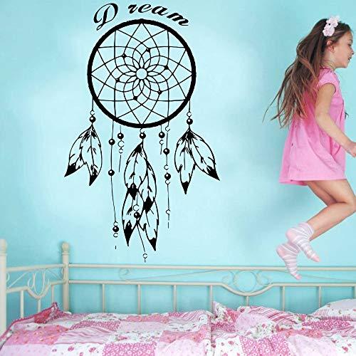 Plumas atrapasueños etiqueta de la pared con cotizaciones en inglés para nativos americanos dormitorio talismán decoración para el hogar pared de vinilo mural 56x89 cm