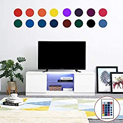 Meuble TV Haute Brillance Blanc Mat et Blanc Brillant avec Lampe LED, 120 cm with RGB LED