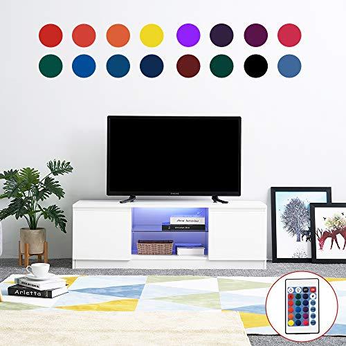 Wohnzimmer Moderner Fernsehtisch, Hochglanz-LED-TV-Ständer TV-Möbel TV-Bank Lowboard Sideboard Schrank mit Glasablage für Wohnzimmer, Schlafzimmer, Weiß - Schlafzimmer Media Storage