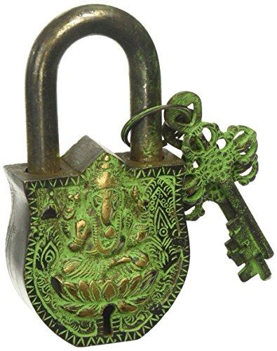Deko Buddha Vorhängeschloss Kloster Schloss groß–massivem Messing mit natürlichen Patina in einem schönen Kunstvoller Vorhängeschloss–Ornament Antik Handarbeit Schlösser für Sicherheit und Stil Dancing Buddhas