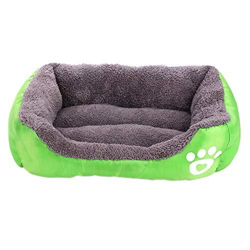 XdremYU Haustier Hund Katze weiche Baumwolle warme Haus Kennel Bett Welpen Kissen Nest Mat Blanket Grün XL - Voll Xl Matratze Pads