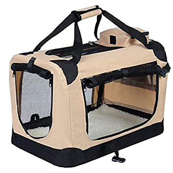EUGAD 0116HT Cage de Transport en Oxford Sac de Transport Pliable pour Chien ou Chat,Beige 70x52x52cm