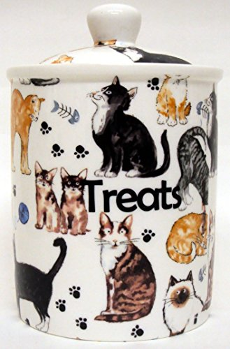 Katzen Collage Kanister Fine Bone Katzen Collage Pet Food behandelt Vorratsdose Hand verziert in Großbritannien.