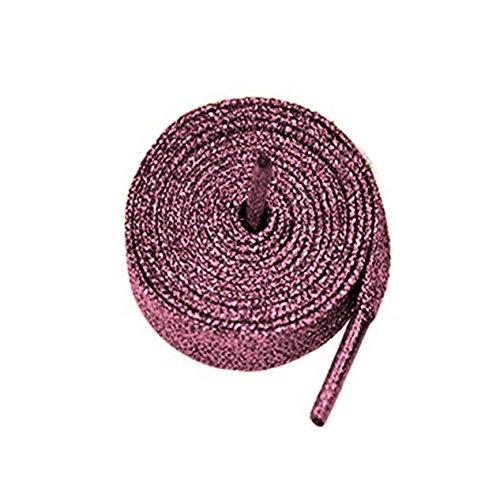 Farbige Metallic-Schnürsenkel, mit Glitzer, flach, 12mm breit x 80cm, 120cm lang, für Kinder- und Damen-Sportschuhe, Tanzschuhe und Schlittschuhe rosa Glitter Hot Pink