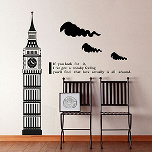 homemay PVC Wandtattoo Aufkleber Englisch Wenn Sie London Big Ben Großhandel Home Decor Wohnzimmer Sofa backgroundwallpaper120cm x 45cm, dunkelgrün, 120 cm x 45 (Disney Großhandel)