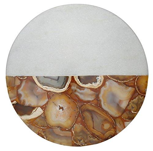 Thirstystone Runde Platte aus Marmor, Achat, weiß/gold Gold-Achat, Hälfte Weiß/Gold