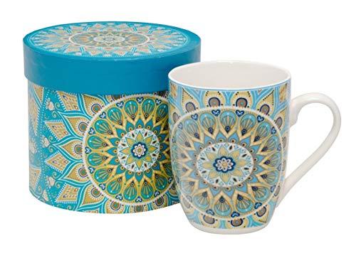 Duo Kaffeebecher Kaffeetasse Tasse groß orientalisches Motiv Porzellan Teetasse große Geschenktasse Rosentasse Trinkbecher Becher Mug Cup 320 ml Set mit Geschenk Box (Tribal)