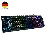Gaming Tastatur mechanisches Gefühl Chroma RGB Beleuchtung und Vollhohen Tastenkappen Ergonomischen Design Business&Gaming-Tastatur Horsky, QWERTZ, Deutsche Layout