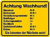 Schild Alu Dekorationsschild 'Achtung Wachhund!' 150x200mm (freilaufender Hund, Warnschild) praxisbewährt, wetterfest