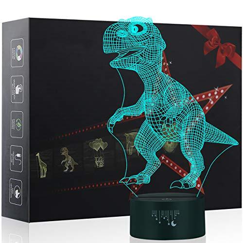 Dinosaurier 3D Lampe Optische LED Täuschung Nachtlicht,Yunplus 7 Farbwech mit Acryl Flat & ABS Base & USB-Ladegerät ändern Berühren Sie Botton Schreibtisch lampe Tischleuchte (dinosaur-9) (Sie Wand Ändern Schalter Licht)
