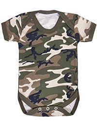 4570b546f3d947 Armee Tarnmuster allover Druck 100% Baumwolle Baby Body - schwarz