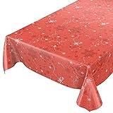 ANRO Wachstuchtischdecke Wachstuch Wachstischdecke Tischdecke Weihnachten Schneeflocken Rot 120 x 140cm, Schnittkante, 120x140cm